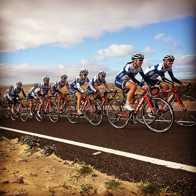 Enjoying blue sky's and quiet roads at Fuerteventura. Making lots of km's with my #BiglaCyclingteam! #excited #womenscycling #newseason